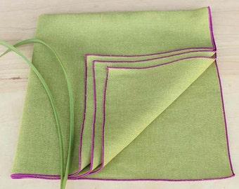 "Linen Napkins, Green Linen Napkins, Cloth Napkins, Chartreuse Napkins, Dinner Napkins, Garden Wedding, Set of 4, 20"" sq."