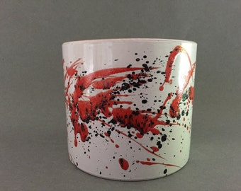 "Marei 11 / 2  Planter Mid Century Modern 1970s  ,,Jackson Pollock style ""glaze,  West Germany Pottery. WGP planter."
