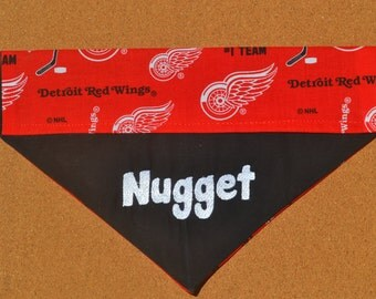 NHL ~ Detroit Red Wings ~ Personalized ~ Over The Collar Dog Bandana