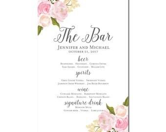 Printable Bar Menu Sign - Wedding Printable Bar Menu Sign - Wedding Bar Menu Poster - Wedding Sign - Wedding Bar Menu - Drink Menu #CL110