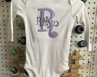 Personalized Baby One Piece Bodysuit - Applique Initial with Name - Light Purple Initial with Gray Name