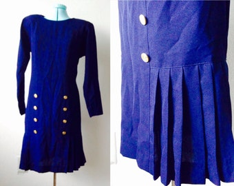 80s military navy blue pleated mini dress