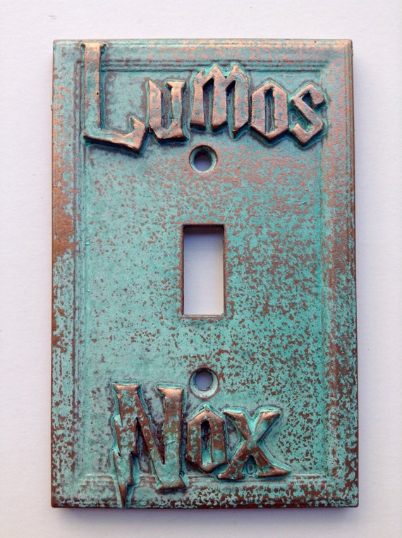 Harry Potter Book Cover Font : Lumos nox harry potter light switch cover aged copper