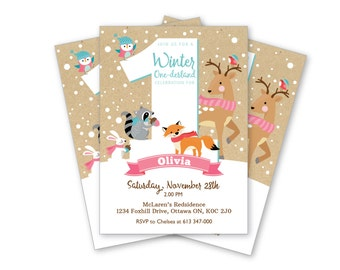 Winter One-derland First Birthday Invitation, Printable, Customized, DIY invitation, Girl or Boy First Party, Woodland Animals party