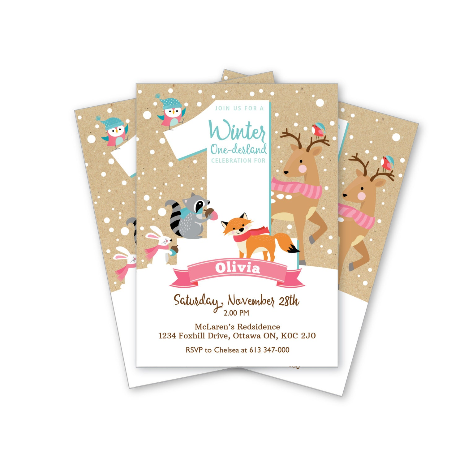 Winter Onederland First Birthday Invitation Printable
