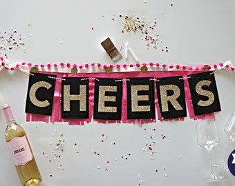 Home Decoration or Party Banner - Cheers - Fancy Banner for your Home Bar or Photo Booth