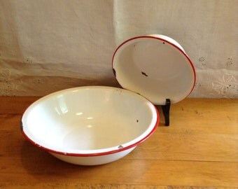 Vintage RED and White ENAMELWARE. Matching Basin and BOWL. Wonderful Aging. Solid White with Red Rims.
