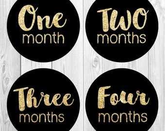 Gold Glitter Monthly Stickers, Baby Milestone Stickers, Chalkboard Stickers for Girls, Trendy Baby Stickers, Baby Month Stickers, Shower