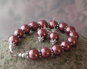 Brown Pearl Bracelet Glass Pearl Bracelet Earrings Set Bridesmaid Bracelet Wedding Bracelet  Pearl Jewelry Handmade Bracelet Womens Bracelet