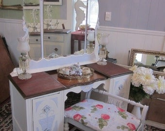 Elegant Vanity Dressing Table with Bench Shabby Chic French Cottage Home