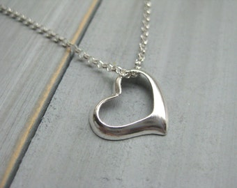 925 Sterling Silver Floating Heart Necklace Heart Jewelry Best Friend Necklace Teen Jewelry Tween Necklace Silver Heart Necklace Flower Girl