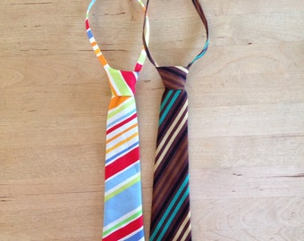 Stripe Tie ; Baby Tie ; Toddler Tie ; Infant Tie ; Little Boy Tie ; Colored Tie ; Brown Tie