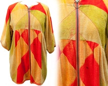 1950s XL Dress Tunic Terrycloth Robe Beach Swim Cover Up Lounge Poolside Palm Springs Towel Red Geometric Atomic Plus Size Mod Resort Retro