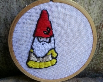 Happy Little Gnome - Embroidery Hoop