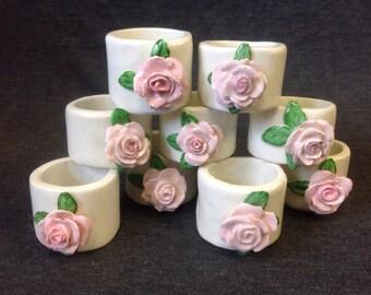 Shabby Chic Vintage Pink Rose Ceramic Napkin Holders, Set of 9 by MSR 1964