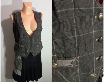 Women Vest #Romantic Country Western #Metal Buttons #Large Size