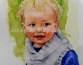 WATERART* Original Watercolour custom portrait, Art commissioning