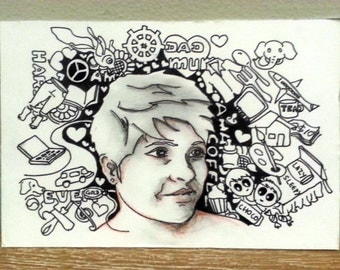 Framed original handmade doodle art with your portrait on it - MINIDOODLE