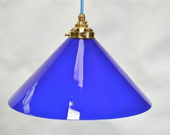 Large vintage handmade Italian blue glass shade LBG3