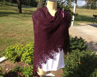 Beaded Ladies Shawl/Wrap in Heathered Burgundy