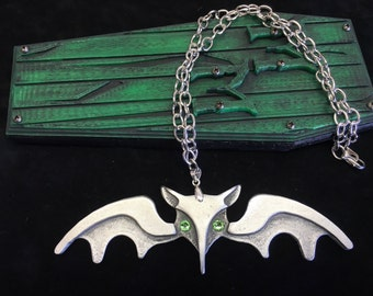 Pewter Lily Munster Bat Necklace