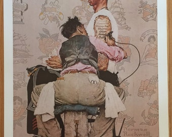 wall art Norman Rockwell  Only Skin Deep print poster 22 x 28 The Tattoo