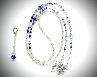 Lanyard/Necklace In Sapphire Blue & Clear<>Swarovski Crystal<>Cute Blue Ceramic Beads<>Embellished Toggle<>Charm Or Zipper Pull<>Holds Keys