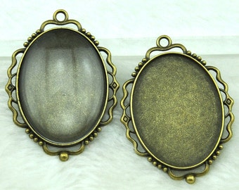 Cabochon Base Setting Antique Bronze Oval Cameo Charm Pendants 30x40mm-----G1850