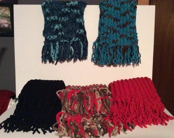 Winter fringe scarfs.