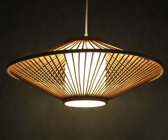 Creative Bamboo And Parchment Pendant Lamp 110-240V One E27