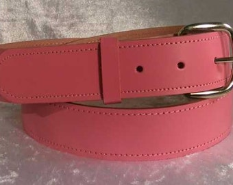 """Pink leather belt with 1.25"""" nickel buckle Made to Order"""