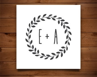 Wedding Monogram Template - Printable Wedding Monogram - DIY Wedding Template - Rustic Wedding - Instant Download - Wreath Collection