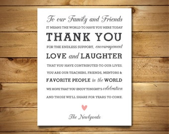 Printable Thank You Sign - Rustic Wedding Signage - Printable PDF Template - Instant Download