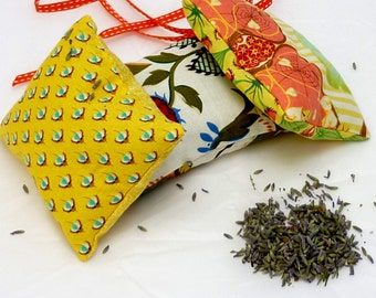 Trio of lavender sachets in yellow and green tonings