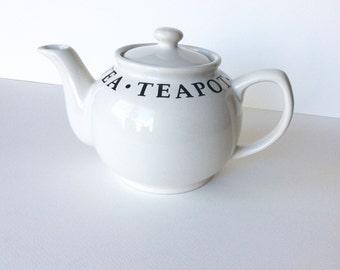 White teapot. Black and white teapot. Large teapot in white. Vintage teapot. Tea party. White ironstone. White ceramic. English teapot.