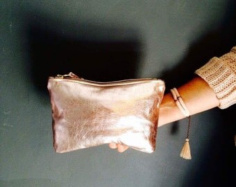 ROSELLA light pink clutch. Metallic leather clutch. Leather clutch bag.