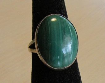 Sterling Silver and Malachite Ring  Size 5 1/2