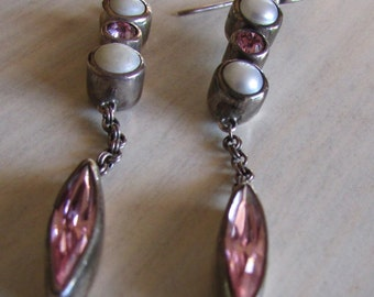 Sterling Silver Pearl and Pink Faceted Stone Dangle Earrings