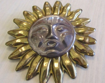Large Sterling Silver and Brass Sun Pin Pendant from Mexico