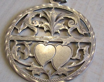 Sterling Silver Two Hearts Pendant from Mexico