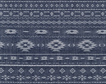 Native American Jacquard Chambray Fabric Yardage. Robert Kaufman. 57 inch Chambray Fabric. Native American Fabric. Rustic Country Fabric.