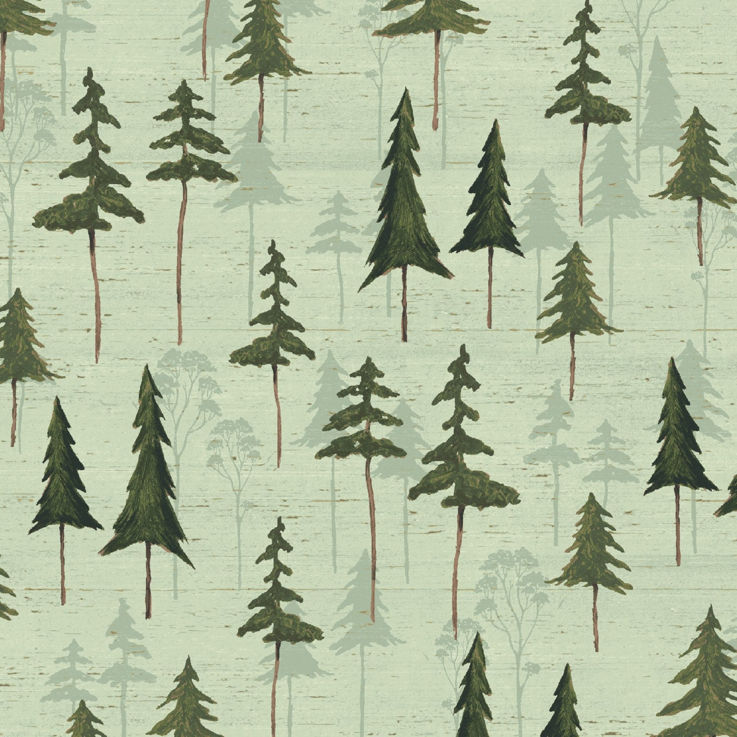 Sage Tree Silhouette Fabric-Wild Woods Windham-Forest Tree Fabric ... : pine tree quilt - Adamdwight.com