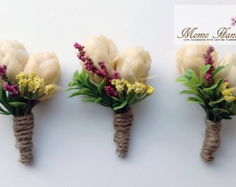 Boutonniere . White/Ivory Silk Flowers . Pink Accent Flower . Rustic . Groom . Groomsmen . Wedding