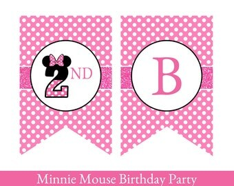 Minnie Mouse Birthday Banner, Minnie Mouse Banner, Minnie Mouse party, Printable Birthday Banner, Birthday Banner says HAPPY 2ND BIRTHDAY