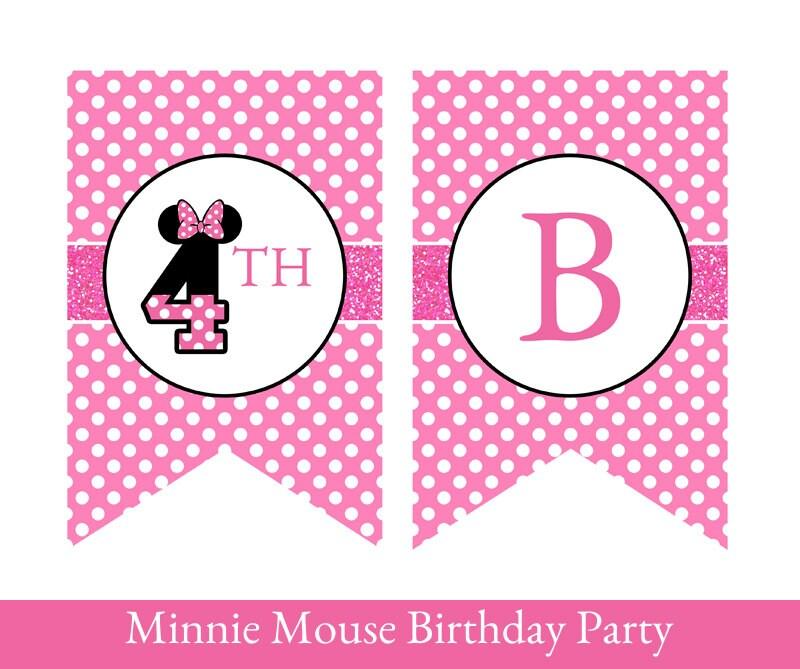 Minnie Mouse Birthday Banner Minnie Mouse Banner Minnie