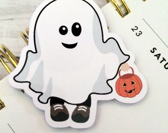 One Magnetic Bookmark/Page Marker. Halloween Costume Kid - Ghost