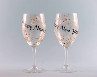 Hand Painted New Years Wine Glasses - New Years Wine Glasses - Set of Two