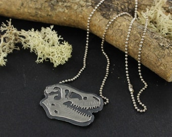 Trex skull necklace - Skull necklace - T-rex necklace - Dinosaur skull necklace - Handmade