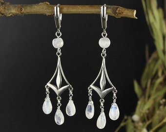Moonstone earrings - Dangle earrings - Victorian earrings - Handmade