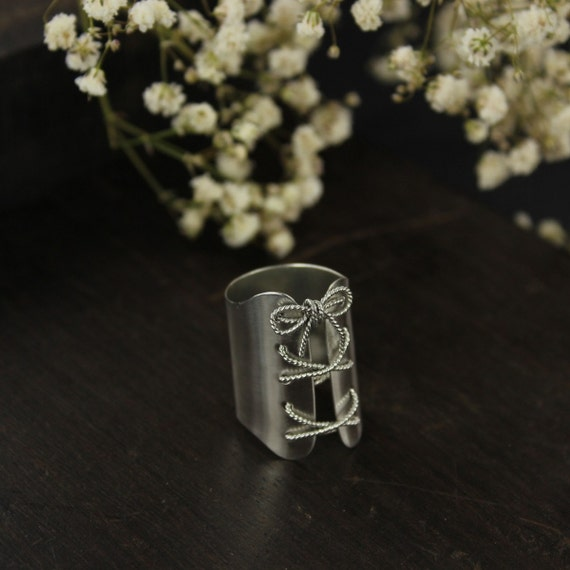 Corset ring - Cuff ring - bondage ring - Sterling silver